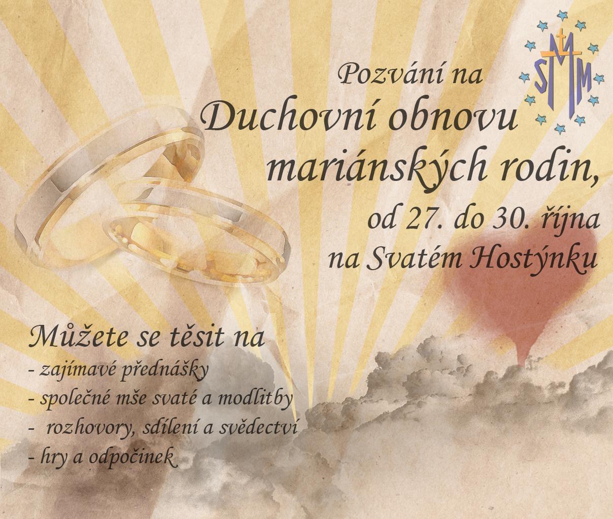 Pozvánka na duchovní obnovu mariánských rodin