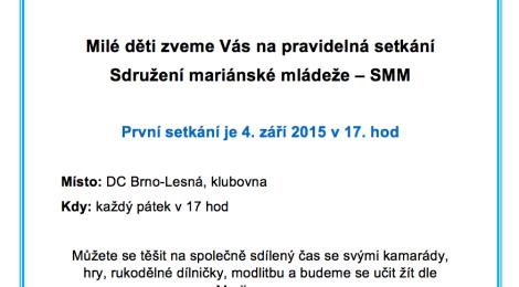 Pozvánká na setkání SMM Brno - Lesná